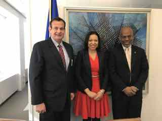 James M. Donovan with Organization of American States Executive Secretary Kim Osborne & Director of Sustainable Devt. Cletus Springer